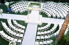 Beautiful outdoor wedding seating - love how it makes a cross!!