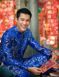 groom blue áo dài