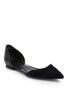3.1 Phillip Lim - Devon Suede & Patent Leather D'Orsay Flats