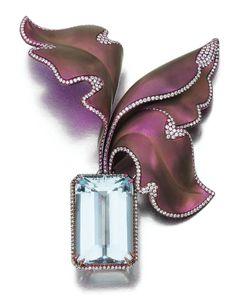 An Aquamarine and Diamond brooch by Margherita Burgener