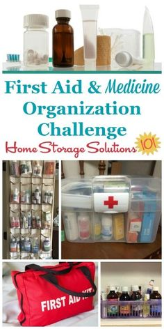 Step by step instructions for creating a first aid kit and medicine organizer area in your home, to keep all over the counter medications, vitamins and prescriptions organized {one of the 52 Week Organized Home Challenge on Home Storage Solutions 101} #OrganizedHome #52WeekChallenge #OrganizingTips