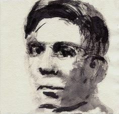 """Tim Brown  Alan Turing (1912 - 1954)  Ink and wash, khadi paper, 6"""" x 6"""""""