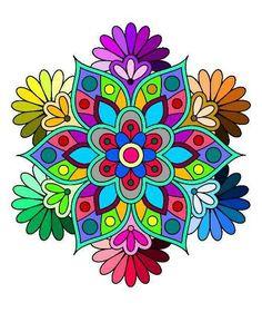 Simple Mandala, Mandala Drawing, 3d Cards, Decoupage Paper, Mandala Coloring, Mandala Colour, 3 D, Color Schemes, Paper Crafts