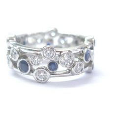 Pre-owned Tiffany & Co. Platinum Bubbles 1.51ct Diamond Sapphire Ring... ($6,250) ❤ liked on Polyvore featuring jewelry, rings, sapphire jewelry, sapphire rings, tiffany co rings, diamond bubble ring and sapphire diamond ring
