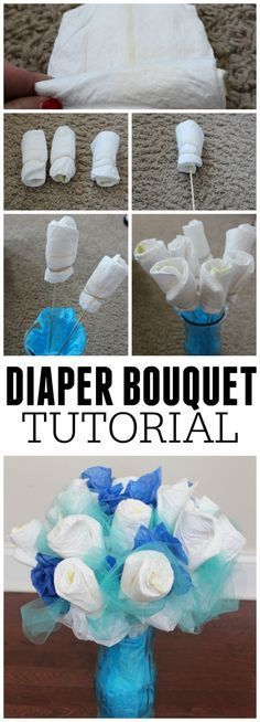 To Make A Diaper Bouquet - Picture Tutorial Looking for a fun DIY Baby shower gift idea? Check out this easy an inexpensive diaper bouquet tutorial.Looking for a fun DIY Baby shower gift idea? Check out this easy an inexpensive diaper bouquet tutorial. Regalo Baby Shower, Idee Baby Shower, Baby Shower Diapers, Baby Shower Favors, Baby Shower Themes, Baby Boy Shower, Shower Ideas, Baby Showers, Diaper Shower