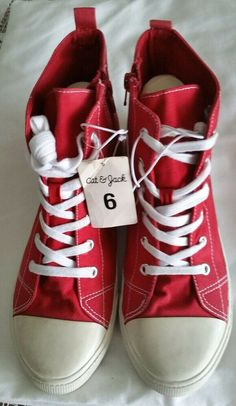 e1d036d5c94e Toddler Boys Burke High Top Sneakers - Cat   Jack Red Tennis Shoes Size 6  New