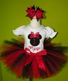 *Girls Fancy Minnie Mouse Red and Black Quick Ship Tutu Set