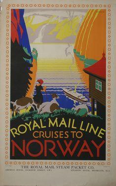 Herrick (Frederick Charles 1887-1970) Royal Mail Line Cruises to Norway, original poster printed by Baynard Press c 1925 - 102 x 63 cm