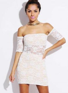 White Lace Off-The-Shoulder Mini Dress #partydress