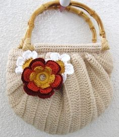 Romantic Clutch in Camel Cream Ivory with Flower by Iovelycrochet