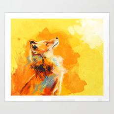 Blissfull Light - Fox portrait Art Print
