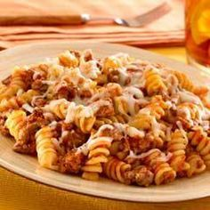 Skillet Pasta & Beef Dinner Recipe Main Dishes with ground beef, ragu old world style pasta sauc, water, rotini pasta, cook and drain, shredded mozzarella cheese