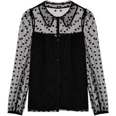 Alice By Temperley LS Spot Round Collar Blouse ($403) ❤ liked on Polyvore featuring tops, blouses, shirts, long sleeves, long-sleeve shirt, lined shirt, button front shirt, button front blouse and alice by temperley