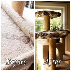 Before a cat perch cover and after! Pre-order now on Kickstarter: https://www.kickstarter.com/projects/1523928412/climb-it-cat-eco-friendly-washable-cat-perch-cover