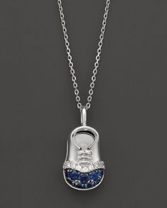 Diamond and Sapphire Baby Boy Shoe Pendant Necklace in 14K White Gold, 17""