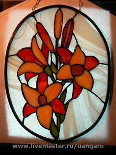 Элементы интерьера ручной работы. Ярмарка Мастеров - ручная работа Витраж Tiger Lily панно. Handmade.