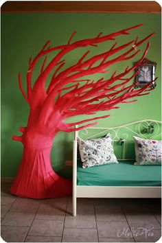 A paper mache tree inspired by the movie Penelope.