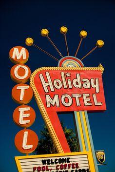 Las Vegas Holiday Motel - Neon Sign - Graphic Googie Art - Mid Century Modern Home Decor - Orange and Blue - Fine Art Photography