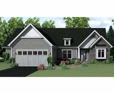 home plans homepw75223 1812 square feet 3 bedroom 2 bathroom ranch home with 2 - Ranch Home Exteriors