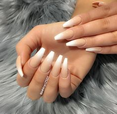Nude & White ombré Nails  Pinterest:Hair,Nails,And Style