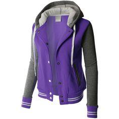 LE3NO PREMIUM Womens Contrast Sleeve Fleece Varsity Baseball Hoodie... ❤ liked on Polyvore featuring outerwear, jackets, fleece collar jacket, purple fleece jacket, stripe jacket, hooded baseball jacket and fleece jacket