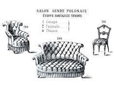 Victorian Clip Art – French Furniture – Paris Label