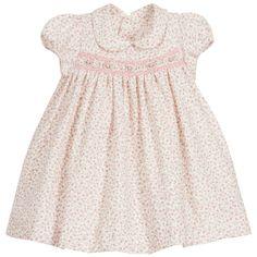 Malvi & Co Baby Girl's Pink Floral Hand Smocked Dress at Childrensalon.com