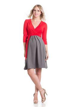 Abby Dress Tomato/Grey #nursingfriendly #nursingdress
