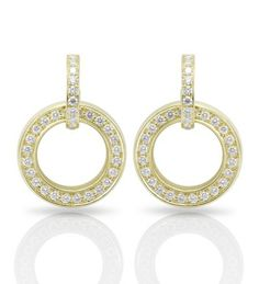 A stylish, elegant pair of drop earrings from Boodles' popular Roulette collection, set with of round-brilliant cut diamonds in yellow gold with post and butterfly fastening. Diamond Jewelry, Diamond Earrings, Drop Earrings, Boodles, Eternity Ring, Jewelry Collection, Fine Jewelry, Place Card Holders, Jewels