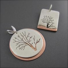 "His and Hers Custom Marriage Tree Pendants 1.25"" diameter & 1"" long Sterling Silver and Copper by Beth Millner."