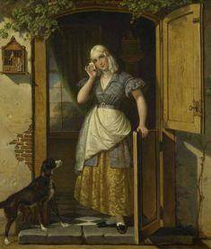 """rijksmuseum-art:  """"Love Note by Johannes Hendrik van West, 1838, Museum of the Netherlands  Het minnebriefje. Een jonge vrouw staande in de deur van een een huis. Zij houdt in de rechterhand een brief bij haar hoofd, de linkerhand rust op de onderdeur...."""