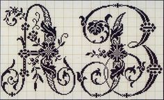 Swirly Floral Alphabet - A & B Embroidery Alphabet, Embroidery Monogram, Embroidery Patterns Free, Stitch Patterns, Hand Embroidery, Cross Stitch Letters, Cross Stitch Charts, Cross Stitching, Cross Stitch Embroidery