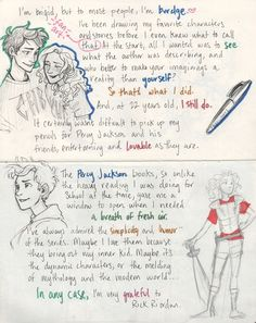 Letter from Burdge:  Also my favorite depictions of the characters (at least Annabeth and Percy)