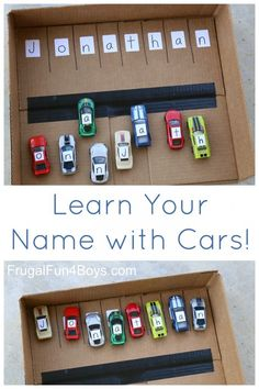 Learn Your Name with Hot Wheels Cars - Frugal Fun For Boys a.-Learn Your Name with Hot Wheels Cars – Frugal Fun For Boys and Girls Name learning activity for preschoolers with Hot Wheels or Matchbox cars - Preschool Learning Activities, Preschool At Home, Home Learning, Infant Activities, Early Learning, Fun Learning, Cars Preschool, Learning Activities For Toddlers, Activities For 3 Year Olds