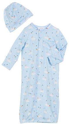 40064cff Angel Dear Bunnies Print Convertible Gown w/ Matching Hat, Size 0-3 Months