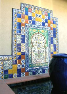 mediterranean style patio - Want some Moroccan tiles in there somewhere Painting Ceramic Tiles, Painted Tiles, Tile Projects, Projects To Try, Moroccan Design, Moroccan Tiles, Oriental, Mediterranean Tile, Tile Murals