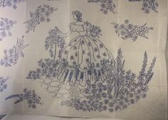 Crinoline Lady in a Summer Garden - Vintage Iron-on Embroidery Transfer W313 by TheVintageSewingB on Etsy