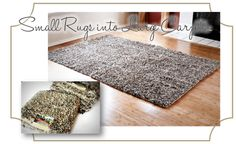 DIY tutorial to turn accent rugs into larger area rugs