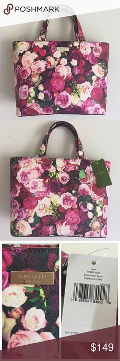 """NWT Auth Kate Spade Grant St Floral Juno NWT authentic Kate Spade Grant Street Floral in Juno / Photoreal Rose / SOLD OUT everywhere / gold tone hardware / magnetic tab closure / one interior zip pocket / two interior slip pockets / 12"""" (top) 10"""" (bottom) long x 8.25"""" high x 4.25"""" deep / 4.5"""" handle drop / no scratches on hardware / no damages, signs of wear inside or outside / care card included / no dust bag / open to reasonable offers kate spade Bags Totes"""