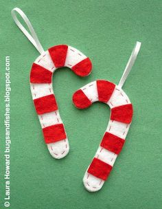 Bugs and Fishes by Lupin: How To: Felt Candy Cane Ornaments