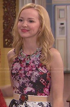 Liv's pink and grey floral top and striped heart belt on Liv and Maddie.  Outfit Details: http://wornontv.net/47433/ #LivandMaddie