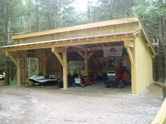 raw log post and beam shed roof garage - Google Search