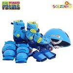 Patins Infantis Ajustáveis do Solzinho Tri-Line Azul, vem com kit de segurança, disponível nos tamanhos 30 ao 33.