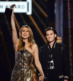 Celine Dion Gives a Tearful Acceptance Speech After Son René-Charles Surprises Her on Stage from InStyle.com