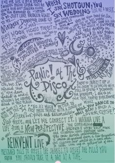 At The Disco lyric art Band Quotes, Lyric Quotes, Quotes Quotes, Lyric Art, Music Lyrics, Art Music, Emo Bands, Music Bands, I Love Music