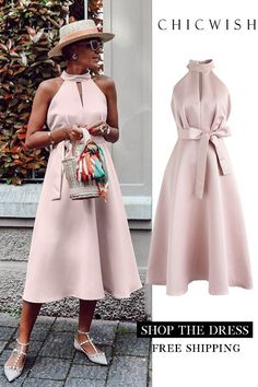 Lady in pink halter neck midi dress - dress Date Outfits, Summer Outfits, Unique Fashion, Womens Fashion, Elegantes Outfit, African Fashion, Pink Ladies, Fashion Dresses, Midi Dresses