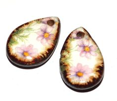 Unusual Ceramic Earring Charms Pair Rustic Lilac Green by Grubbi