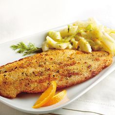 Pangasius et salade de fenouil Jus D'orange, Filets, Chicken, Meat, Diane, Food, Good Food, Fish, Eten