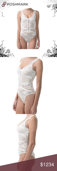 Ivory Lace V-Neck Bodysuit This lace bodysuit creates a chic base layer. Pairs well with sheer tops and won't come untucked for fuss-free style. 88% Polyester/12% Spandex. Dry Clean. Bundle for discounts! Thank you for shopping my closet! Tops