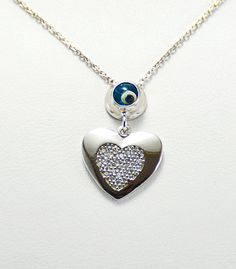Sterling Heart Charm Necklace CZ Jewelry by KurtArtJewelry on Etsy